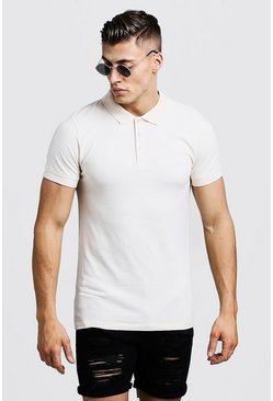 Polo Muscle Fit, Écru, Homme