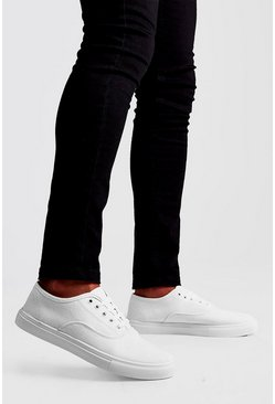Mens White Lace Up Plimsoll