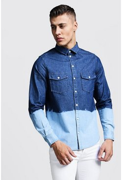 Mens Blue Denim Shirt With Dip Dye Hem