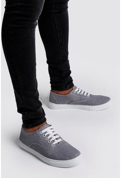 Mens Grey Lace Up Plimsoll
