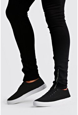 Mens Black Lace Up Plimsoll