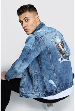 Mens Mid blue Denim Jacket With Back Print
