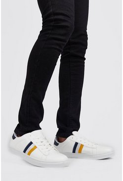 Mens White Stripe Side Tape Detail Sneaker