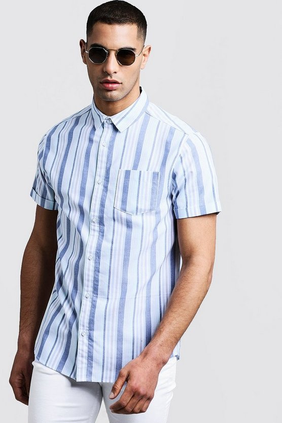Mens Blue Stripe Oxford Short Sleeve Shirt