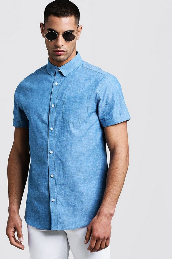 Mens Blue Short Sleeve Shirt With Neon Nep