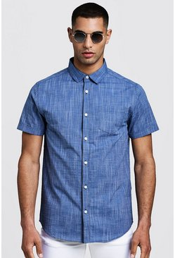 Mens Navy Short Sleeve Shirt In Cotton Slub