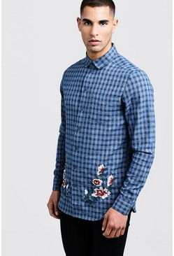 Mens Blue Longline Check Shirt With Floral Embroidery