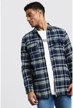 Mens Grey Lime Check Zip Overshirt