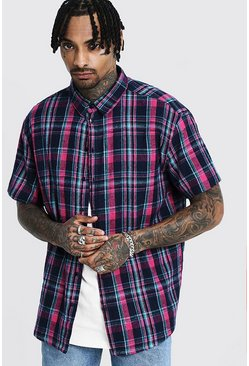 Mens Pink Check Oversized Short Sleeve Shirt