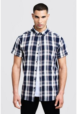 Mens Ecru Check Short Sleeve Shirt