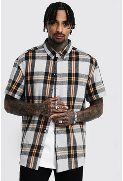 Mens Grey Mustard Check Oversized Short Sleeve Shirt