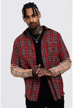 Mens Red Ombre Check Sleeve Slim Fit Shirt With Raw Hem