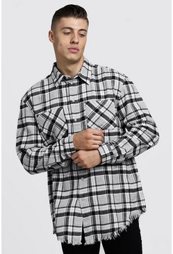 Mens Grey Oversized Long Sleeve Check Shirt With Raw Hem