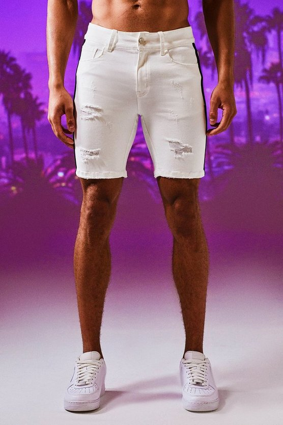 Mens White Skinny Fit Denim Shorts With Side Tape
