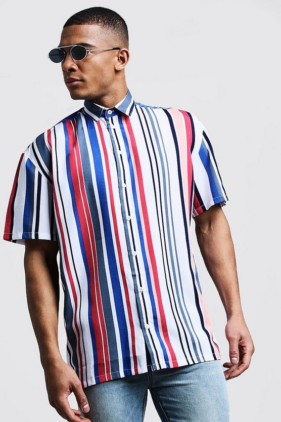 Mens White Vertical Stripe Oversized Short Sleeve Shirt