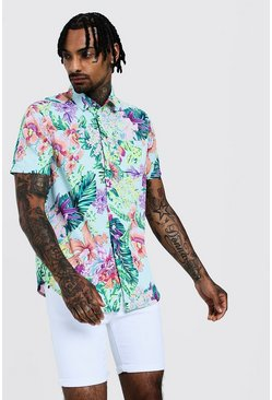 Mens Mint Neon Palm Print Short Sleeve Shirt