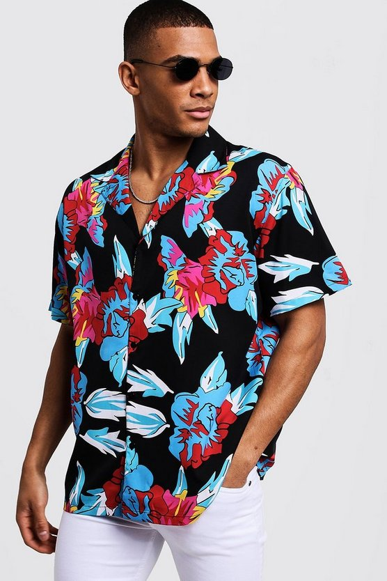 Mens Black Floral Print Oversized Short Sleeve Revere Shirt