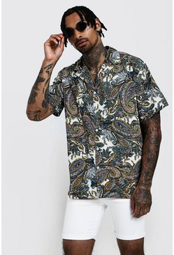 Mens Ecru Paisley Print Oversized Short Sleeve Revere Shirt