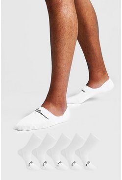 Mens White MAN Signature 5 Pack Invisible Socks
