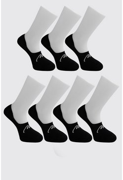 Mens Black MAN Signature 7 Pack Invisible Socks