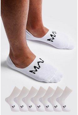 White MAN Dash Invisible 7 Pack Socks