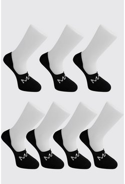 Mens Black MAN Dash Invisible 7 Pack Socks