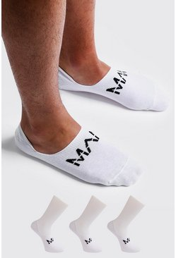 Mens White MAN Dash 3 Pack Invisible Socks