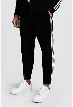 Mens Black Jogger Chino With Side Tape