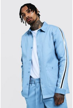Mens Dusty blue Cotton Shacket With Tape Detail
