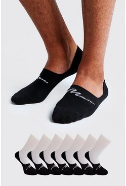 Mens Black MAN Signature 3 Pack Invisible Sock