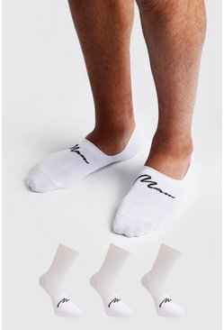 Mens White MAN Signature 3 Pack Invisible Sock