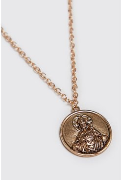 Mens Gold Deboss Coin Pendant