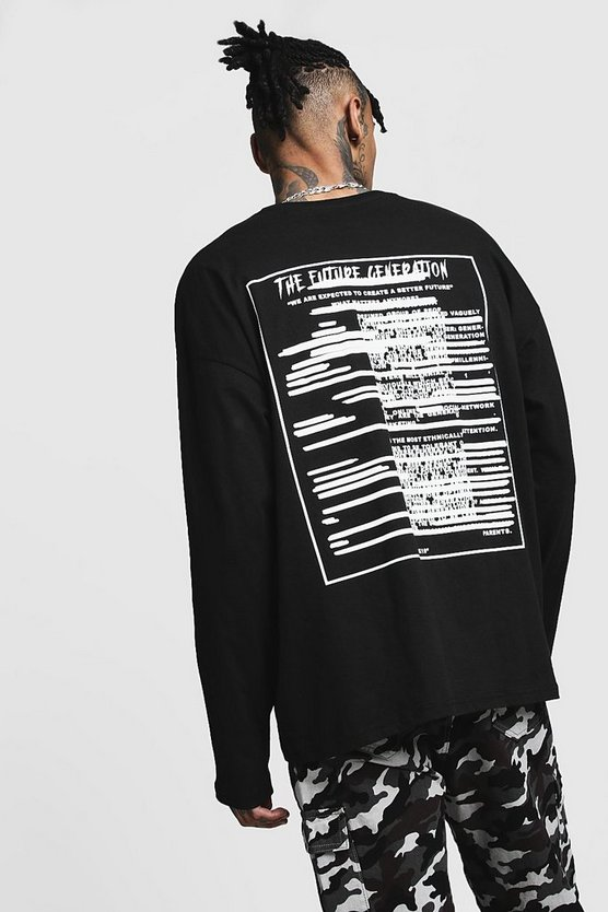 Black Printed Future Generation Oversized Long Sleeve Tee
