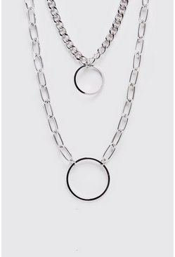 Double Chain Pendant Necklace, Silver, HERREN