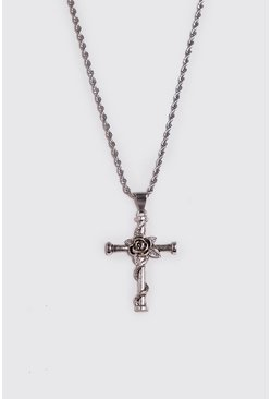 Mens Silver Rose & Cross Necklace