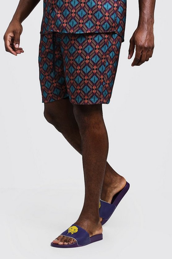 Big & Tall Tribal Print Short, Purple, HOMMES