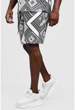 Big & Tall Chevron Tile Print Short, Black, HOMMES