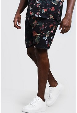 Mens Black Big & Tall Oriental Floral Short