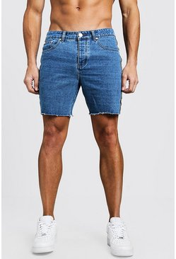 Slim Fit Tape Detail Denim Shorts With Raw Hem, Mid blue, HERREN