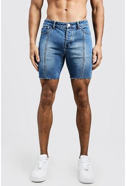 Mens Blue Slim Fit Seam Detail Raw Hem Denim Shorts