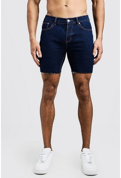 Mens Indigo Slim Fit Denim Shorts With Raw Hem