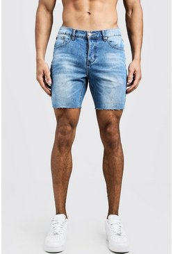 Mens Blue Slim Fit Denim Shorts With Raw Hem