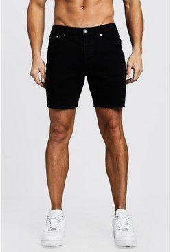 Black Slim Fit Denim Shorts With Raw Hem