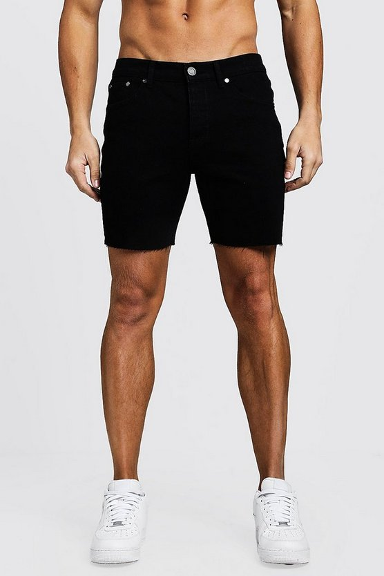 Slim Fit Denim Shorts With Raw Hem, Black, HERREN