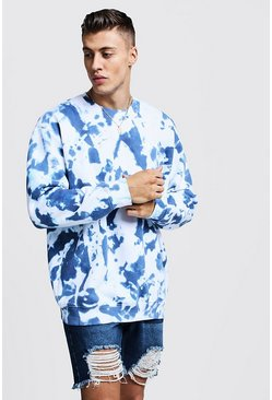 Mens Navy Tie Dye Oversized Fleece Sweatshirt