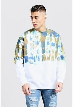 Mens Khaki Ombre Tie Dye Oversized Sweater