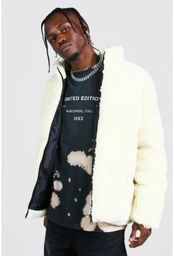 Cream Borg Funnel Neck Puffer