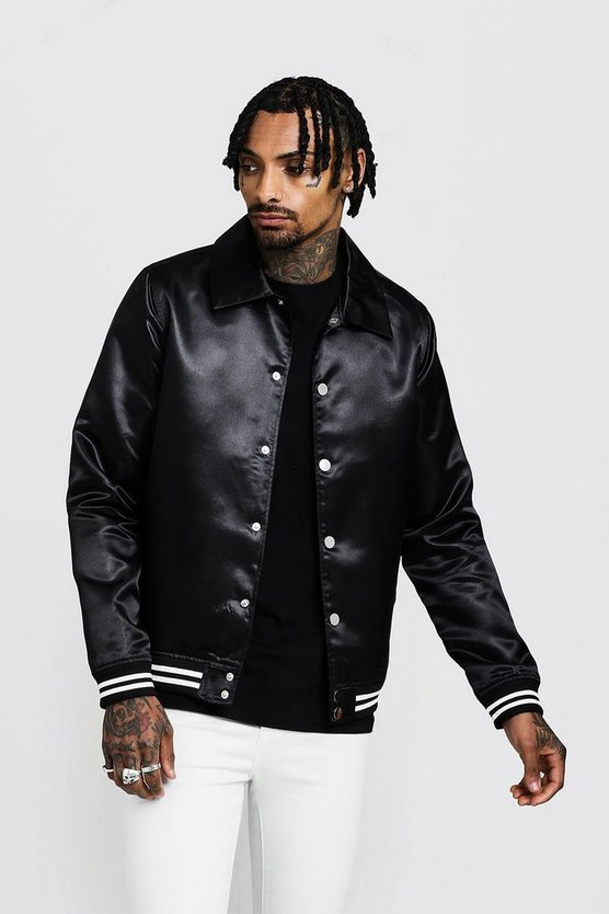 Mens Black Satin Collared Bomber Jacket