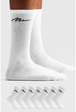 MAN Signature 7 Pack Sport Socks, White, HOMMES