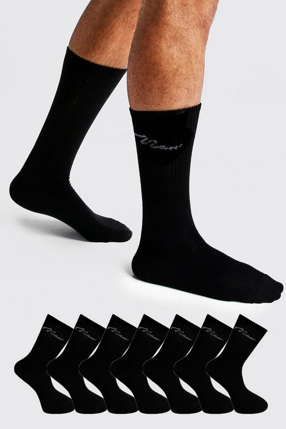 Black MAN Signature 7 Pack Sport Socks